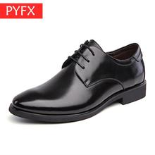 2019 summer men's lace-up pointed leisure business dress men's leather shoes Italian black classic mens wedding party dress shoe