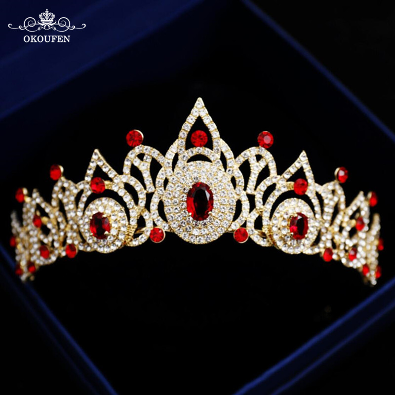Stunning Red Crystal Rhinestone Quinceanera Crowns Tiaras Wedding Hair Jewelry Gold Pageant Prom Headbands Headpieces For Women