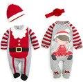 Moda de algodón gris y rojo de la raya pijamas bebé recién nacido del mameluco de la navidad