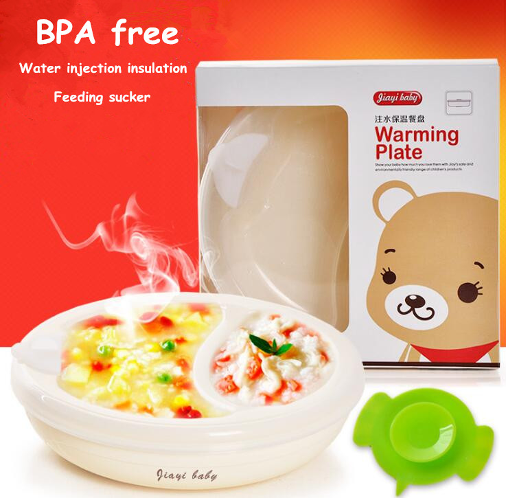 Baby water infusion thermal suction cup bowl baby compartment meal table children anti fall training complementary food plate