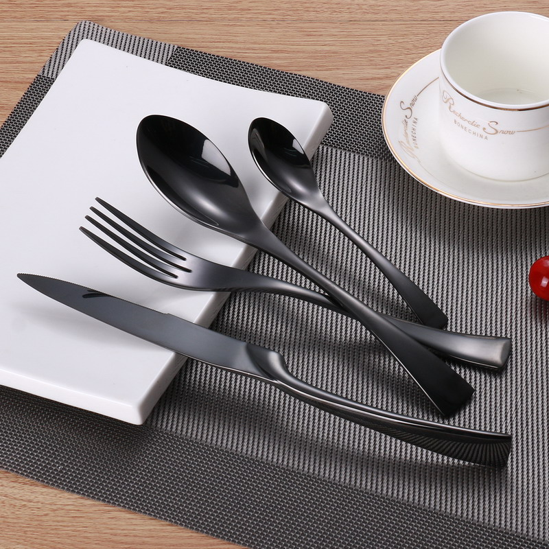 Wholesale 24pcs Set Stainless Steel Black Cutlery Set