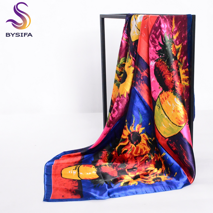 [BYSIFA] Spring Sunflowers Square Scarves Headscarf For Ladies Van Gogh Brand Oil Painting Silk Scarf Shawl 90*90cm Satin Scarf
