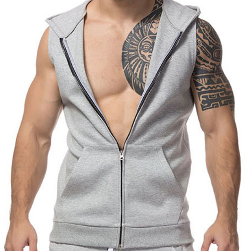 New 2018 Clothing Bodybuilding Solid Color Fitness Men Zipper Hooded   Tank     Top   Vest Stringer Sleeveless Hoodie Work Out Clothes