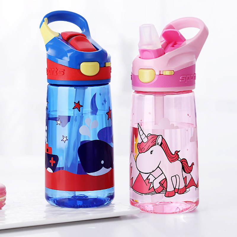 Enfant 450ml kids Water Bottle Portable Tritian Material BPA Free Safe With Duck Straw Kids Water Bottle With Lock Cartoon Cup water bottle