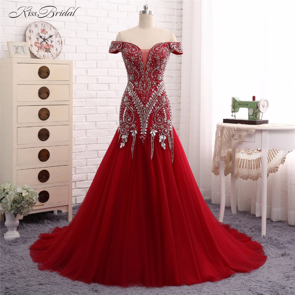 Off the Shoulder   Evening     Dresses   Long Mermaid Crystal Beaded Formal Party Prom Gown Vestido de Festa Robe de Soiree 2017