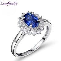 Горячая Распродажа овальное кольцо 5x7 мм 14Kt из белого золота с сапфиром, натуральный Алмазный сапфир кольцо 585 белого золота BAB001401