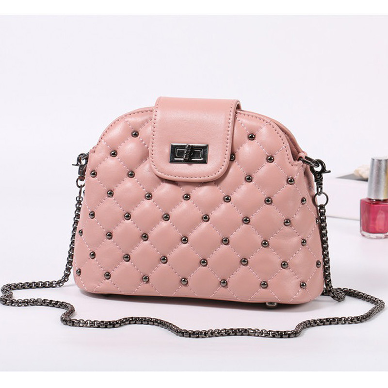 fashion crossbody  small  bags chain strap sheepskin  high quality genuine leather shell flap  handbag shoulder  women bag twenty four genuine leather female shoulder bags fashion style chain bags with rivets for young girl small lovely handy flap bag