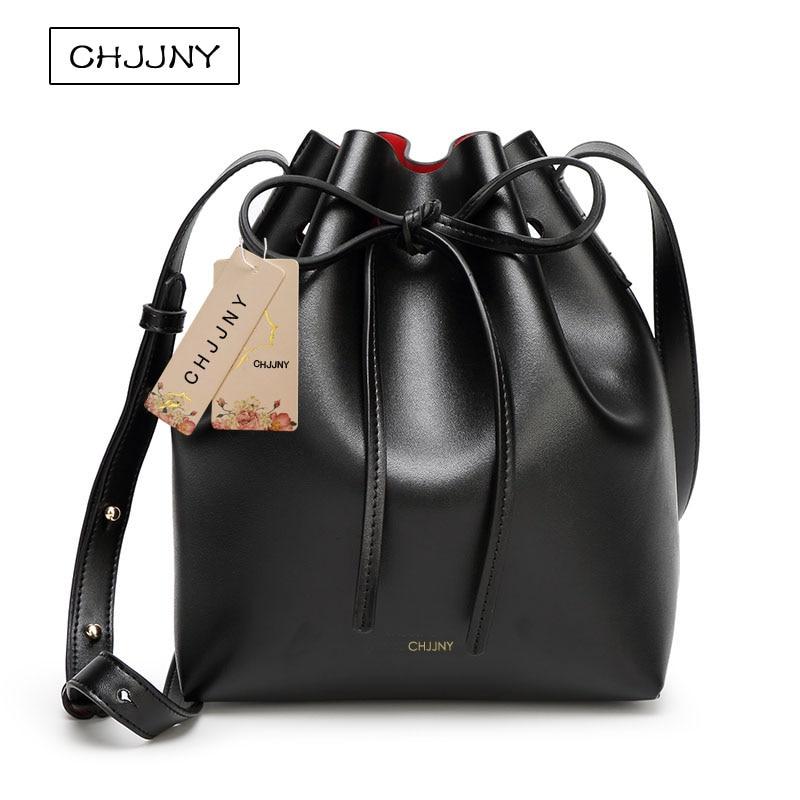 Chjjny mansur designer gavriel avec logo sacs à poussière sac seau en cuir femmes marque sacs d'école de cordon pour les adolescents