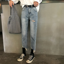 Women Hole Hem Fraied Jeans Female Autumn Vintage Solid Washed High Waist Denim Pants Women Casual Straight Loose Pockets Jeans boys solid tee with rolled hem jeans