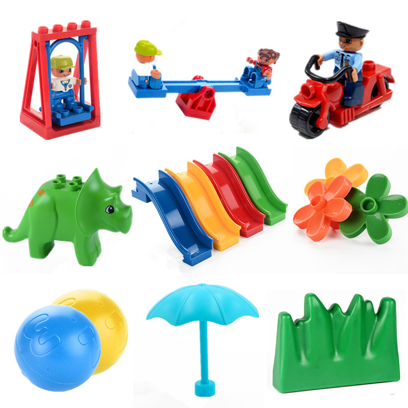 Big Size Diy Building Blocks Swing Dinosaurs Figures Animal Accessories Toys For Children Compatible With L Brand Duplo Brick(China)