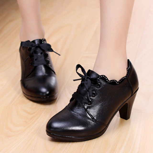 7c5aa34de6f8e New arrival Spring Black Genuine Leather women's shoes lace up thick heels  Round toe low heel Casual shoes Special offer