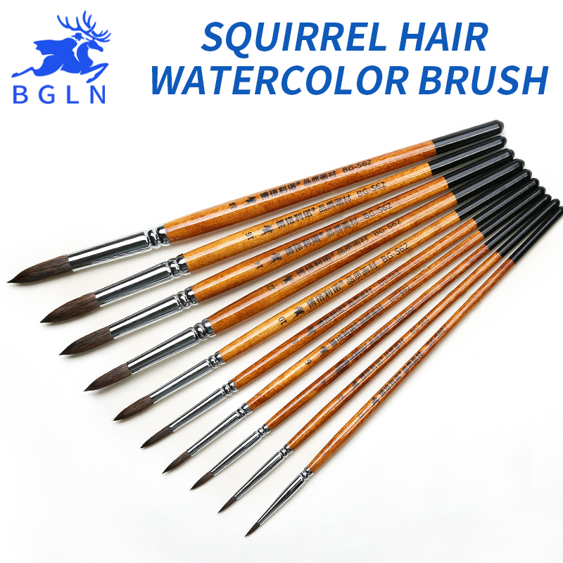 Bgln 1Piece Squirrel Hair Professional Watercolor Paint Brush Pointed Watercolor Painting Brush For School Art Supplies BG-S62 bgln 7pcs set mix hair nylon weasel hair professional watercolor paint brush watercolor painting brush stationery art supplies