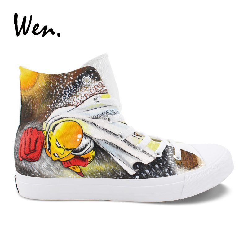 Wen Boys Girls Hand Painted Cosplay Shoes ONE PUNCH MAN Anime Design Teens Sneakers Lacing High Casual Flat Canvas Plimsolls wen design anime hand painted shoes soul eater death the kid canvas shoes boys girls vulcanize sneakers high top white plimsolls