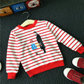 Newest Baby Boys&Girls Cartoon Striped T-shirts 2016 Autumn Hot Sell Baby Cotton Long Sleeve T-Shirts Kids Tops For 2-7Years Old
