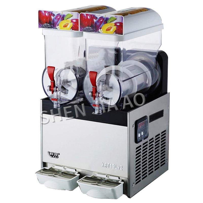 XRJ-15LX2 Double cylinder snow melting machine 2 Tanks of Commercial ice Slush Machine 15L*2 Beverage Juice container 220-240VXRJ-15LX2 Double cylinder snow melting machine 2 Tanks of Commercial ice Slush Machine 15L*2 Beverage Juice container 220-240V