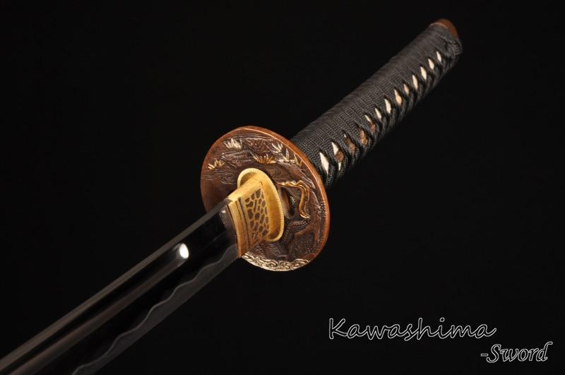 Əl istehsalı Yapon Katana Tam Tang Qatlanan Polad Samuray Qılınc - Ev dekoru - Fotoqrafiya 4