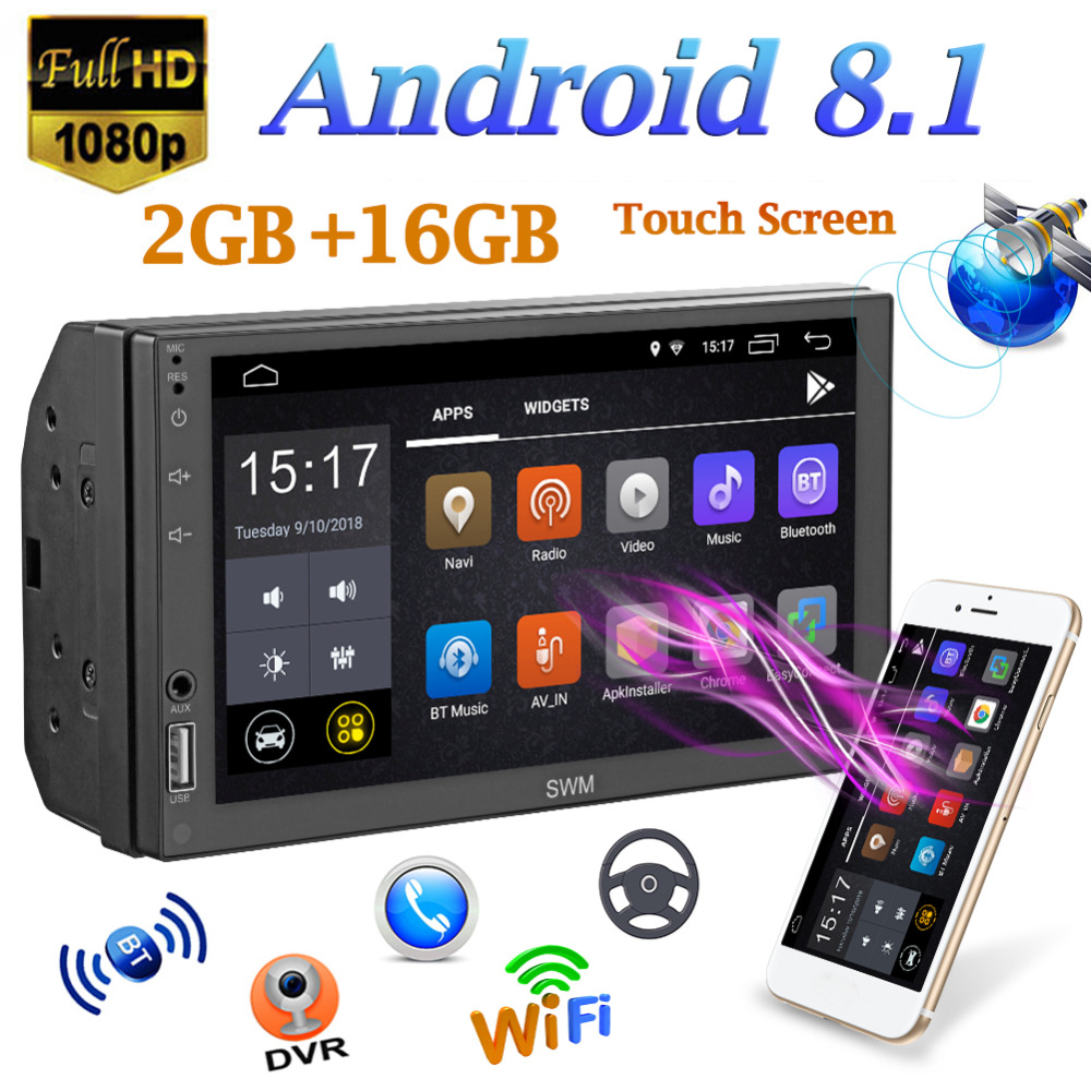 SWM A1 7in 2Din Quad-core Android 8.1 Car Stereo MP5 Player GPS Navi WiFi FM AM Radio U disco BT4.2 Unità di Testa funzione Bluetooth