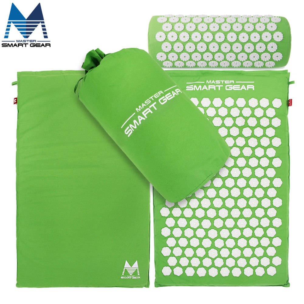 <font><b>Yoga</b></font> Mat Acupressure Mat and Pillow Set Back Body Massage Relieve Stress Tension Pain for Acupressure Massage & Relaxation Green