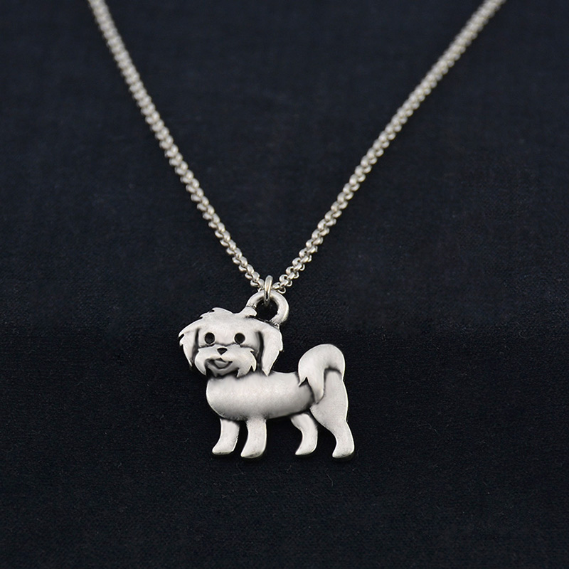 Vintage Silver Boho Maltese Dog հմայքը կախազարդ Choker - Նորաձև զարդեր - Լուսանկար 5