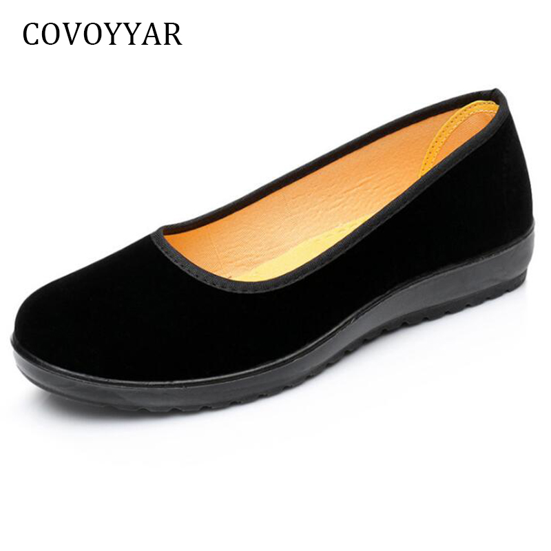 COVOYYAR 2018 Soft Bottom Women Flats Loafers Flock Women Dance Shoes Slip On Casual Black Working Shoes Plus Size 40 WFS952 spring summer flock women flats shoes female round toe casual shoes lady slip on loafers shoes plus size 40 41 42 43 gh8
