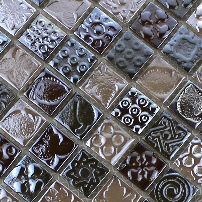 mesh backing gray color carved glass mosaic tiles for kitchen ...