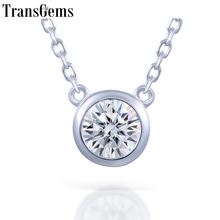 TransGems 6.5MM Moissanite Platinum Plated the Silver Solitaire Pendant Round With COMPLIMENTARY 18 14K Gold Chain
