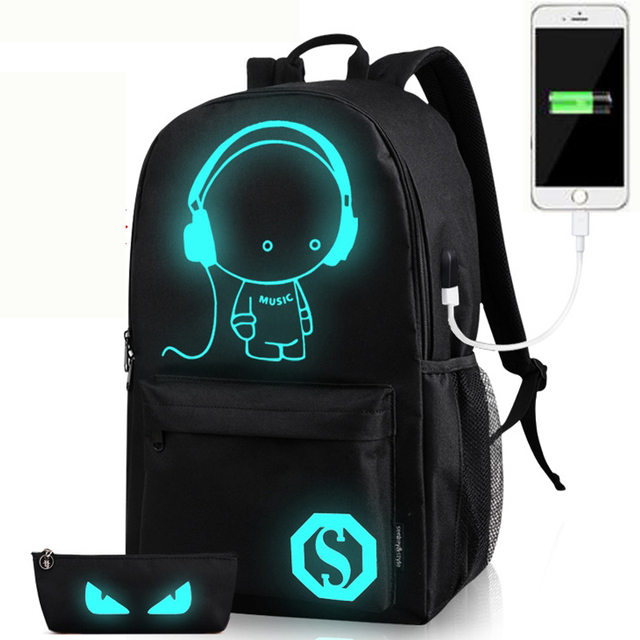 Cartoon laptop notebook backpack for Men women external USB charge computer brand anime noctilucent backpacks