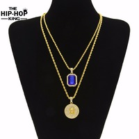 Micro Rhinestone Red Jesus Face Pendant Chain Necklace Set for Men High Quality Zinc Alloy Iced Out Hip Hop Jewelry New Arrival