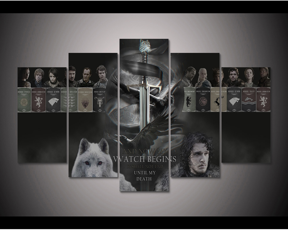 Game Of Thrones Wall Art online shop framed hd print 5pcs game of thrones canvas wall art