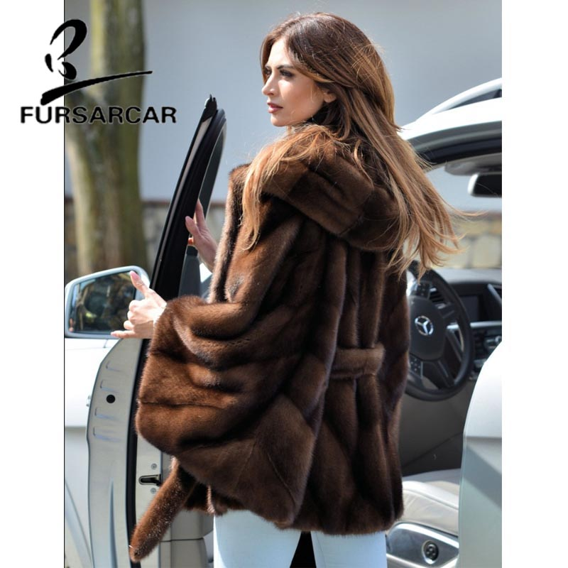 Image 2 - FURSARCAR Women Real Fur Coat New Fashion Bat Sleeved Thick Warm Mink Fur Coat With Hood Winter Luxury Female Nature Fur Jacket-in Real Fur from Women's Clothing