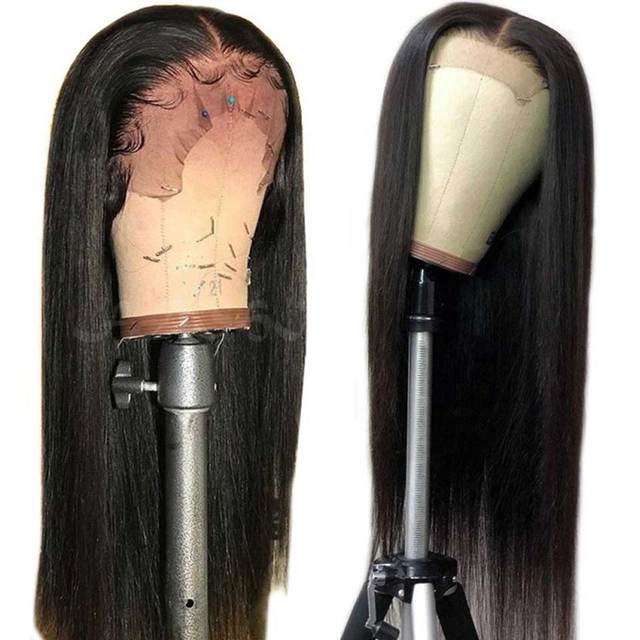 180% Density Glueless Straight Lace Front Human Hair Wigs For Black Women Remy Brazilian Lace Front Wigs Pre Plucked & Baby Hair
