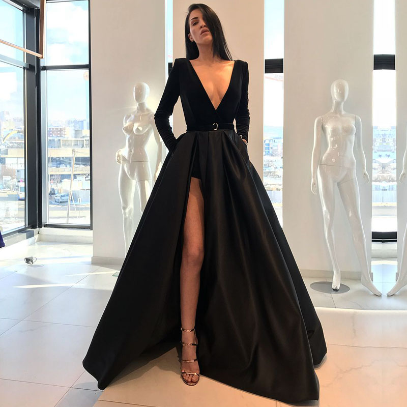 Long Black Evening Dresses 2019 Sexy High Slit V-neck Long Sleeve Arabic Style Women Formal Evening Gown