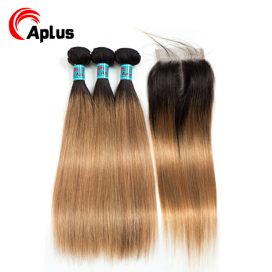 HTB1IZDSw qWBKNjSZFAq6ynSpXaK Aplus Hair Peruvian Ombre Bundles With Closure Straight 1B/27 Honey Blonde Bundles With Closure NonRemy Human Hair Weave Closure
