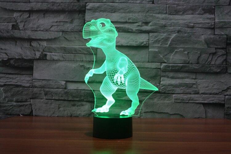 ᗗтворческий 3d Led 7 цвета динозавр изменение визуальная иллюзия