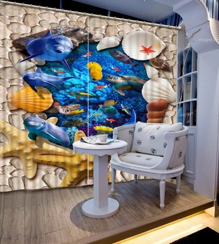 Children Room Curtains Beach underwater world Curtains For Boys/Girls Bedroom Modern Home Curtains Decor