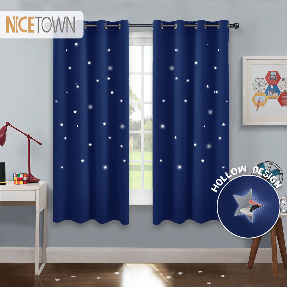 Us 19 67 40 Off Nicetown Baby Starry Sky Blackout Nursery Window Drape For Kid S Room With Cut Stars Naptime Essential In Curtains From
