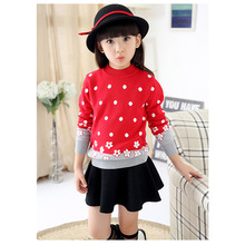 Autumn Baby Girls Sweater Infant Children Girl Child Dot Knitted Sweater Baby Flower O-neck Sweater Warm Outerwear Pullovers