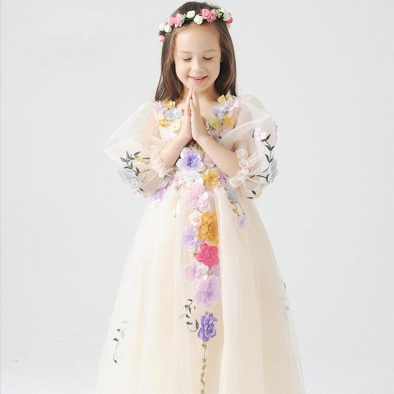 Robes de filles de fleurs robe de bal de mariage pour enfants robe de princesse de fée de fleur pour les filles vêtements faits à la main en maille 3 ans