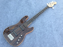 Precison electric bass guitar with F hole ,zebra wood top flamed maple binding