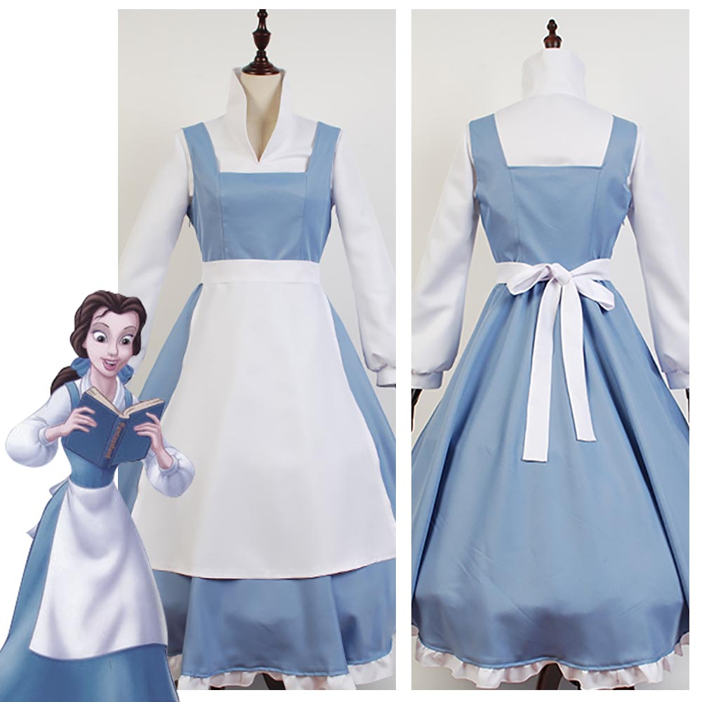 Adult Women Beauty And The Beast Costume Beauty And The Beast Belle Cosplay Costume Blue Maid Dress Halloween Gown