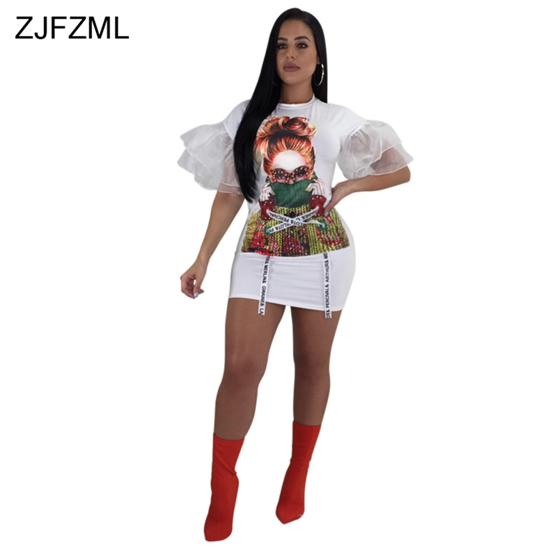 1f71c6db4009f ZJFZML Short Flare Sleeve Sexy T Shirt Dress Women Character Print O Neck  Mini Dress Summer Casual Mesh Patchwork Bodycon Dress-in Dresses from  Women s ...