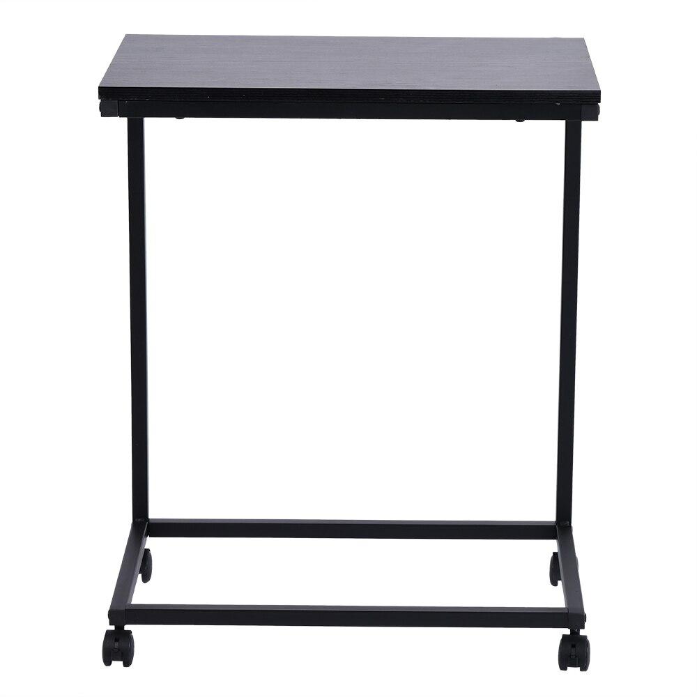 Table de collation Mobile pour café ordinateur portable tablette canapé canapé Table d'appoint avec 4 roues aspect bois meubles d'appoint avec cadre en métal