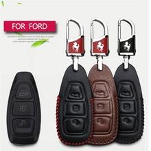 2017 Nova Inteligente Caso Chave Do Carro de Couro Capa Bag Para Ford Fiesta foco 2 Kuga Eco esporte Mondeo 4 Car Styling Chave Da Tampa Do Caso