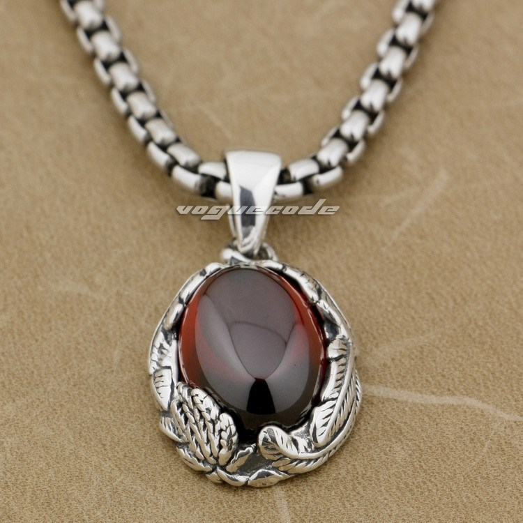 925 Sterling Silver Feather Red CZ Stone Fashion Pendant 9J011 (Necklace 24inch)925 Sterling Silver Feather Red CZ Stone Fashion Pendant 9J011 (Necklace 24inch)