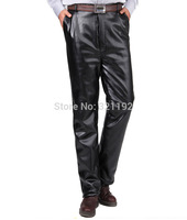Men Autumn Winter Plus Size Straight High rise Slim Pu Plus Velvet Special Thick Velvet Down Pants A04 Gj#