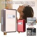Calentador de agua eléctrico 110 V/220 V 3.8KW calentador de agua instantáneo sin tanque 3800 W LCD Pantalla de temperatura digital para cocina, cuarto de baño