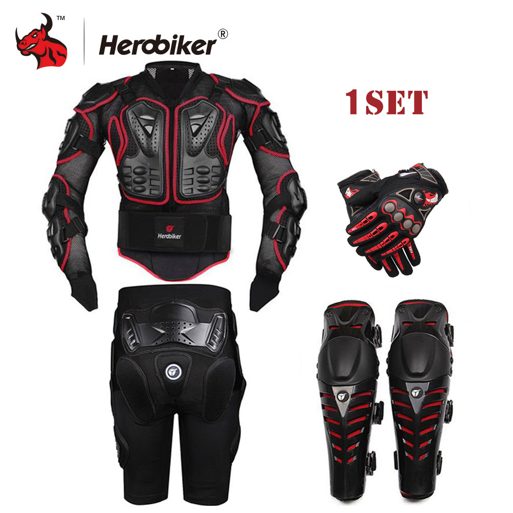 HEROBIKER Black Motorcycle Racing Body Armor Protective Jacket+ Gears Short Pants+Motorcycle Knee Protector+Moto gloves herobiker motorcycle riding body armor jacket knee pads set motorcross off road racing elbow chest protectors protective gear
