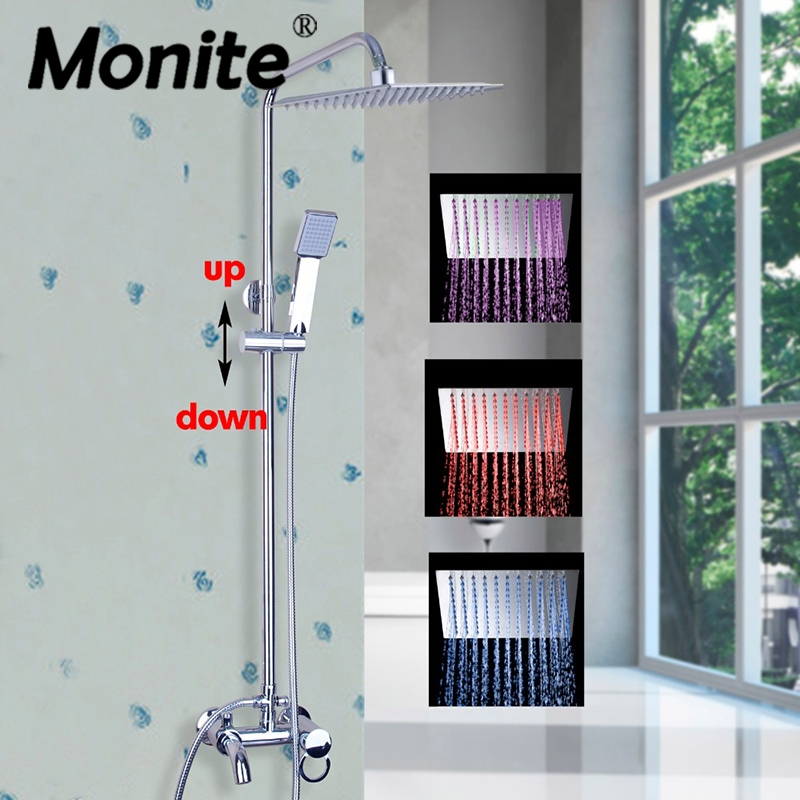 NEW Luxury LED Polish Chrome Rainfall Shower Set Faucet Tub Mixer Tap Handheld Shower Wall Mounted Shower Faucets new shower faucet set bathroom thermostatic faucet chrome finish mixer tap handheld shower wall mounted faucets