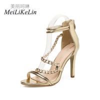 MeiLiKeLin Summer Style women's high heels ladies celebrity Concise Chains shoes woman zipper sandals US5 9 Gold