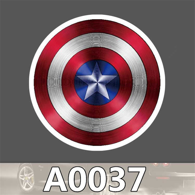A0037 Anime Superhero Captain America Shield Cool Sticker for Car Laptop Luggage Fridge Skateboard Graffiti PVC Stickers Toy